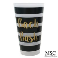 bachelorette plastic tumblers with black stripes