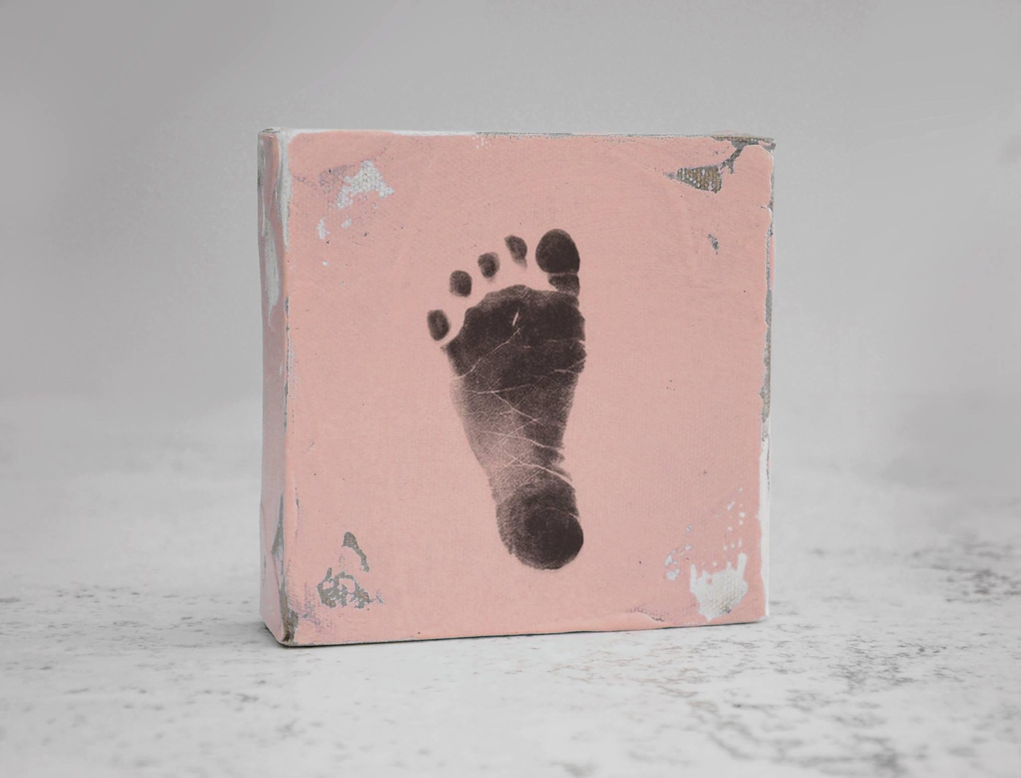 baby pink footprint stamp kit