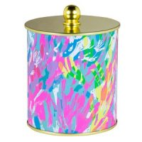 large candle by Lilly Pulitzer in sparkling sand pattern