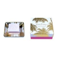 soap and tray set in metallic palms patterned tray by Lilly Pulitzer in so juicy scent